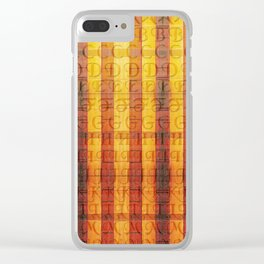 Pattern with the alphabet and hot colors in stripes Clear iPhone Case