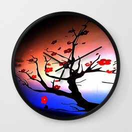 Japanese Maple Under Night Sky With Moon Wall Clock