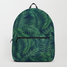 Night tropical palm leaves Backpack