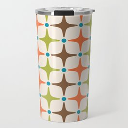 Mid Century Modern Star Pattern 814 Brown Orange Turquoise Chartreuse Travel Mug