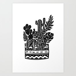 Botanical Pot Block Print Art Print