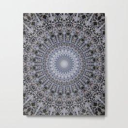 Detailed mandala in grey tones Metal Print