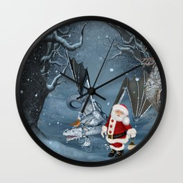 Santa Claus with ice dragon in a winter landscape Wall Clock