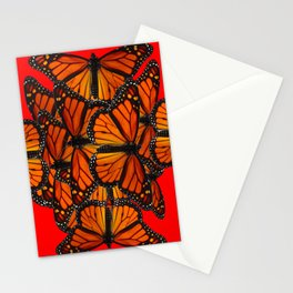 MONARCH BUTTERFLIES INK DRAWING SOCIAL IN RED Stationery Cards