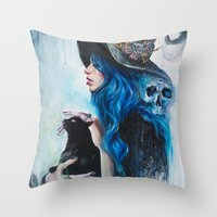valentine Throw Pillows featuring Blue Valentine by Tanya Shatseva