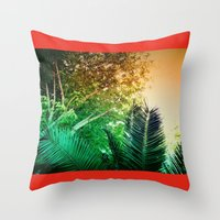 palms Throw Pillows featuring PALMS by Teresa Madruga