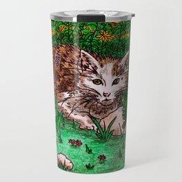 Cat in Flower Garden Travel Mug