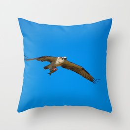 An Osprey Flying With A Half Eaten Fish Throw Pillow