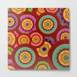 Colorful Indian Henna Mandala Pattern Metal Print