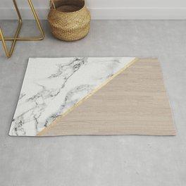 Modern white marble gold stripe wood color block Rug