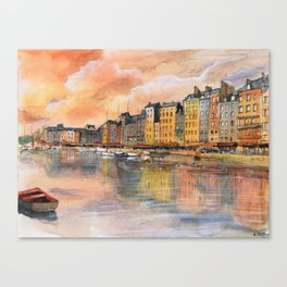Sunset over Honfleur Canvas Print