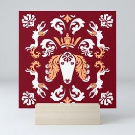 The Spirit of Saluki Damask (Red) Mini Art Print