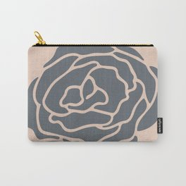 Minimalist Flower Navy Gray on Blush Pink Carry-All Pouch