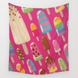 A Rainbow of Popsicles on Magenta Wall Tapestry