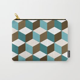 Cubes Pattern Teals Browns Cream White Carry-All Pouch