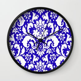 Paisley Damask Blue and White Wall Clock