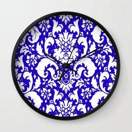 Paisley Damask Blue and White Wall Clock