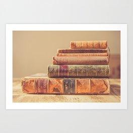 Vintage Book Stack (Color) Art Print