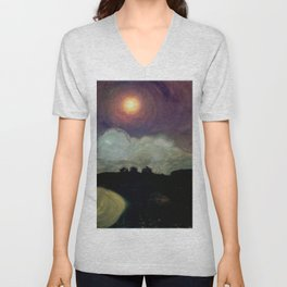 The Killing Moon nighttime beach landscape by Gustaw Gwozdecki Unisex V-Neck