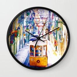 Lisbon Watercolor Cityscape Wall Clock