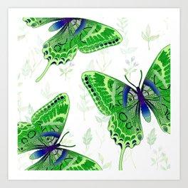Beautiful Green Butterflies Flowers Garden Art Print