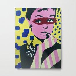 Audrey Hepburn Pop art Metal Print