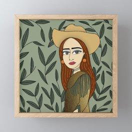 Cowgirl, Green and Gold,  Girl Illustration   Framed Mini Art Print