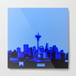 Pixilated/Blurred Seattle Skyline - blue Metal Print