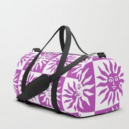 Mid Century Modern Sun Pattern Magenta Duffle Bag