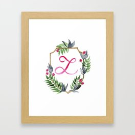 Jungle Gold Monogram Crest L Framed Art Print