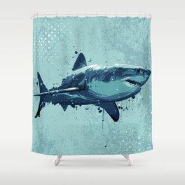 Guppy   Great White Shark Shower Curtain