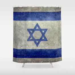 National flag of the State of Israel with distressed worn patina Shower Curtain