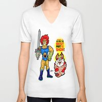 thundercats V-neck T-shirts featuring SNARF!  The greatest of ALL The Thundercats...  Way cooler than Lion-O! by beetoons