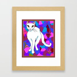 Pretty White Kitty in the Window - Stained Window Framed Art Print