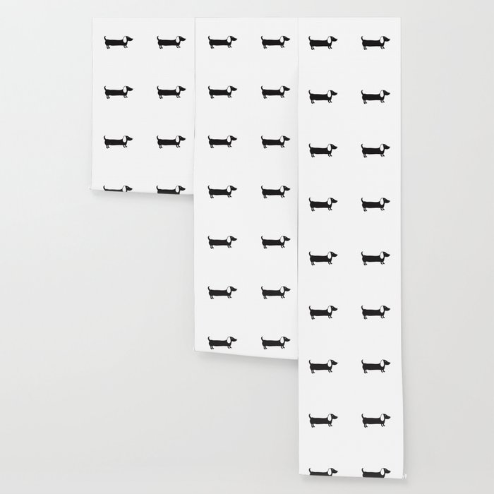 Simple black and white dachshund Wallpaper