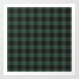 Green and Black Buffalo Plaid, Tartan Art Print