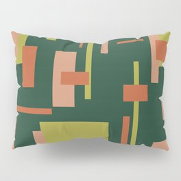 Cityscape Mid-Century Modern Abstract in Coral and Green Pillow Sham