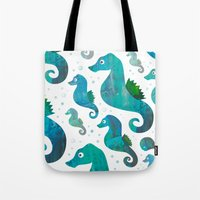 racing Tote Bags featuring Seahorse Racing by Andrew Fox