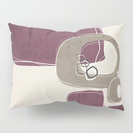 Retro Abstract Design in Taupe and Mulberry Pillow Sham