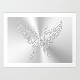 Ornate round-tailed butterfly in silver with embossed effect Art Print