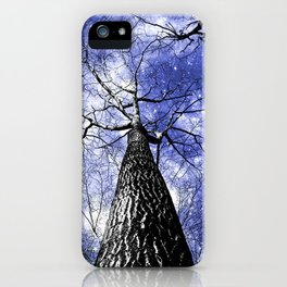 Wintry Trees Galaxy Skies blue iPhone Case