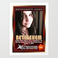 caitlin hackett Art Prints featuring Caitlin Oliver appearance card - King of Arcades World Premiere, Bethlehem PA by The Walter Day Collection