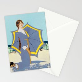 """C Coles Phillips """"Beach Umbrella"""" Fadeaway Girl Stationery Cards"""