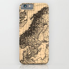 Iconographic Encyclopedia of Science, Literature and Art (1851) - Map of Sweden, Norway, Denmark iPhone Case