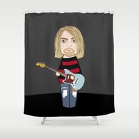 kurt rahn Shower Curtains featuring Kokeshi Kurt by Pendientera