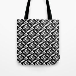 Prima Damask Pattern White on Black Tote Bag