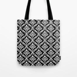 Prima Damask Pattern White on Black Tote Bag