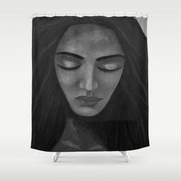 On My Mind by Lu, black-and-white Shower Curtain