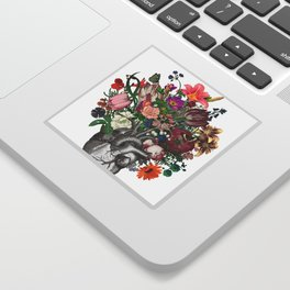 Anatomical heart and flowers Sticker