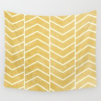 chevron Wall Tapestries featuring Yellow Chevron by Zeke Tucker